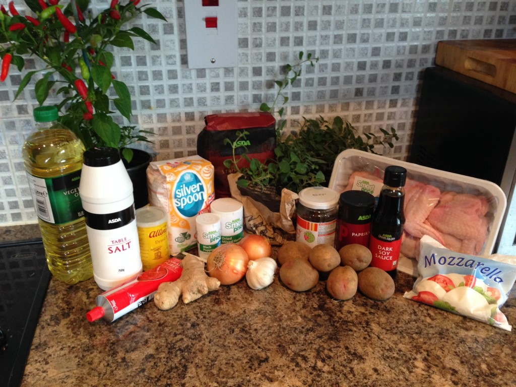 Ingredients for Pizza, Chicken Wings and Potato Wedges