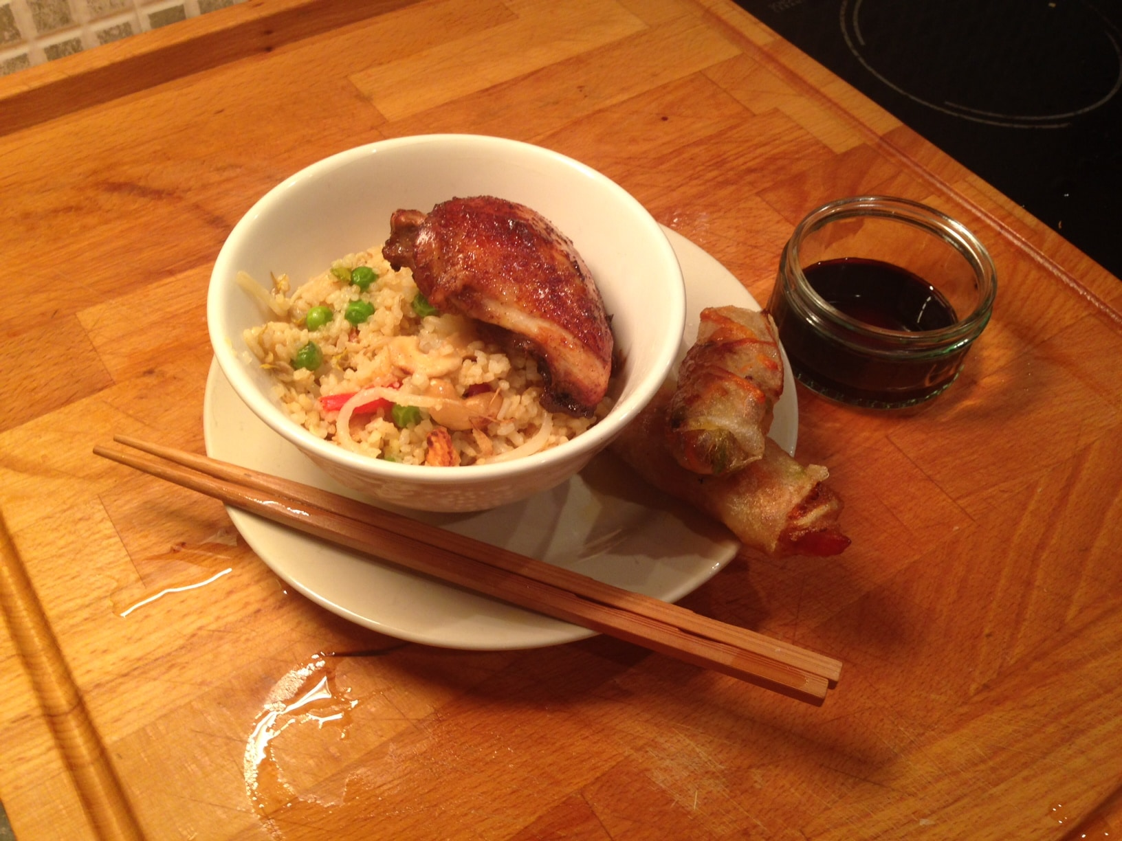 Fakeaway: Chinese Roasted Chicken, Vegetable Fried Rice and Spring Rolls