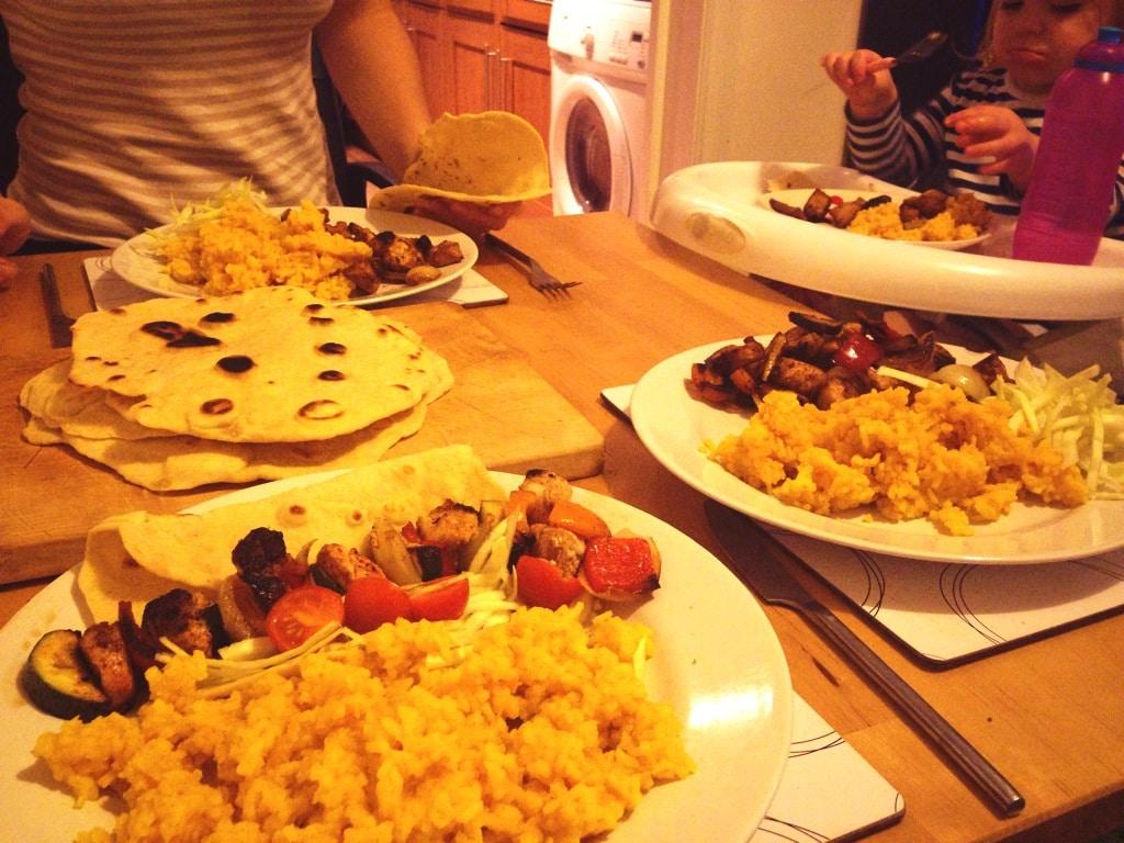 kebab at table