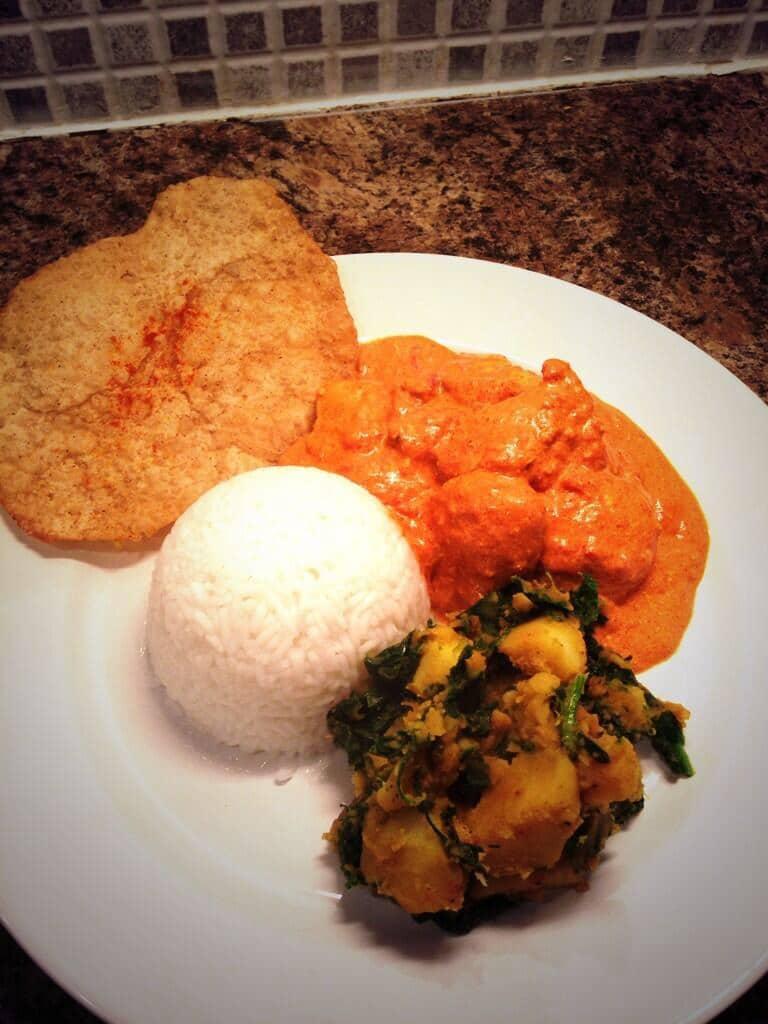 Saturday Night Fakeaway: Chicken Tikka Masala, Sag Aloo, Rice and Poppadoms