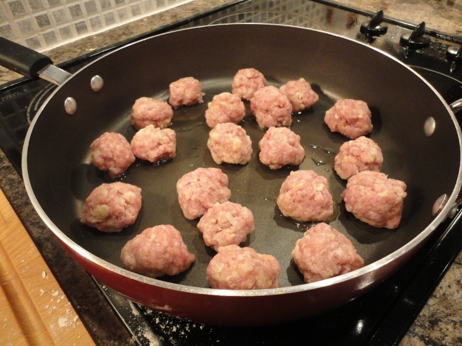sweet and sour pork balls cooking