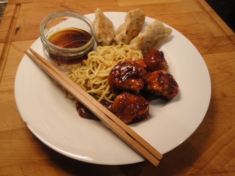 Sweet and Sour Pork Balls, Dim Sum Pork Dumplings with Chinese Chow Mein