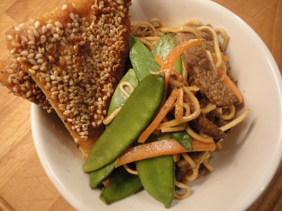 Saturday Night Fakeaway – Beef and Vegetable Chow Mein and Sesame Prawn Toast