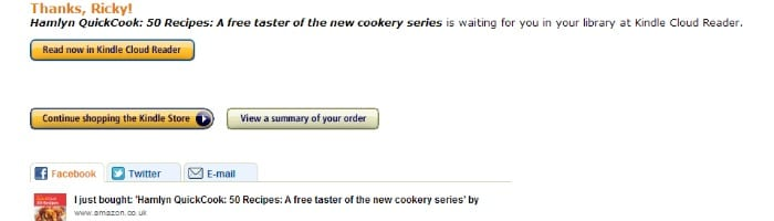 Amazon 1 click confirmation to buy a free eBook | The Skint Dad Blog