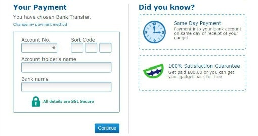 O2 Recycle payment details