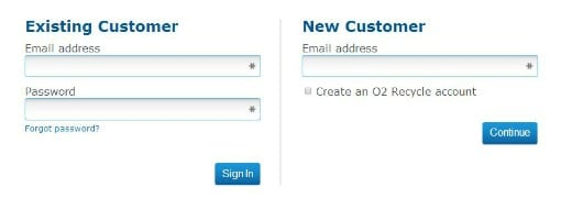 O2 Recycle account sign up