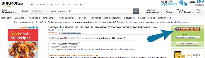 Amazon 1 click to buy a free eBook | The Skint Dad Blog