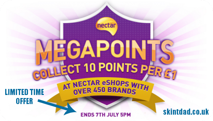Nectar eShops are running a mega deal. For the next six days (until 7 July 2014 at 5pm), when you spend £1 they will reward you with 10 Nectar points and there are over 450 online retailers who are taking part in this promotion.
