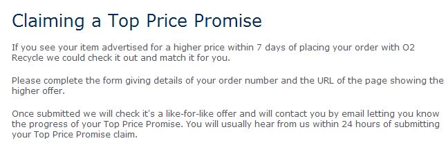 o2 recycle top price promise