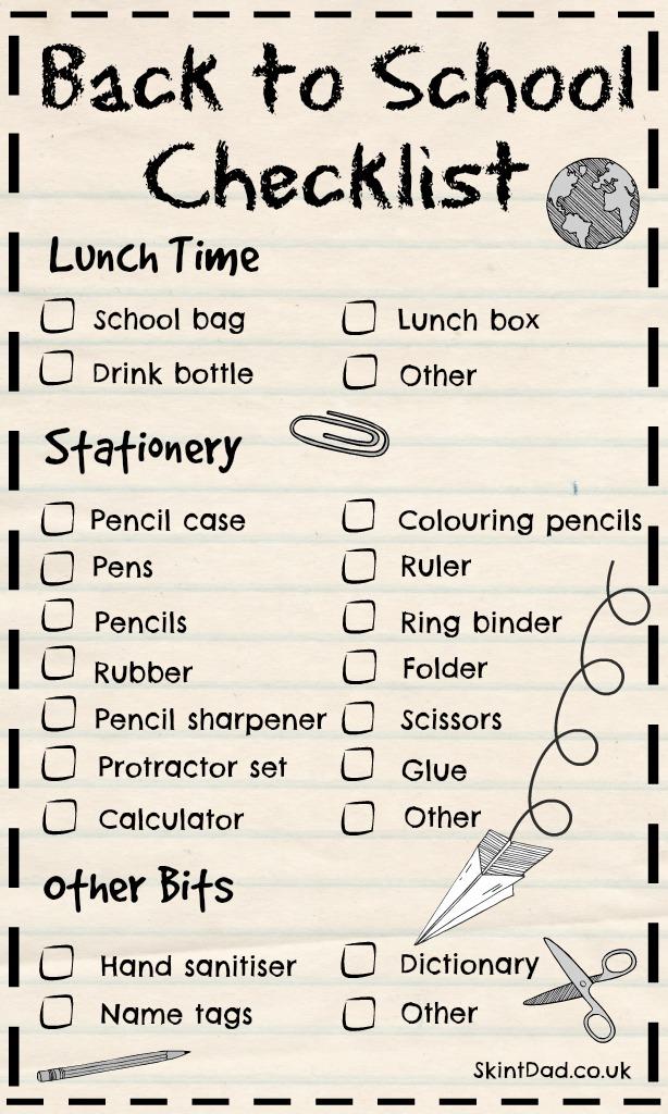 Back to School Essentials Printable Checklist   The Skint Dad Blog