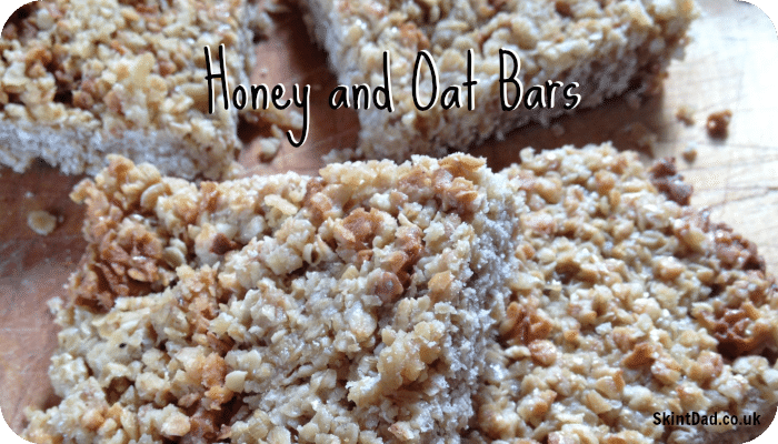 Easy to make Honey and Oat Bars that costs just 62p for all 8 - perfect for lunch boxes or as a tasty snack