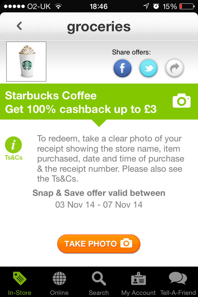 Free Starbucks Coffee after cashback with TopCashback