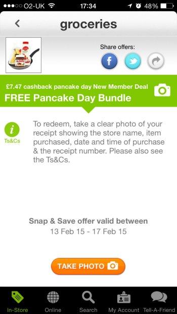 Free Pancake Bundle Snap & Save app