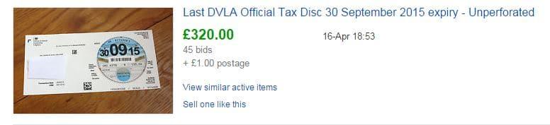 DVLA tax disc sold for 320 on eBay