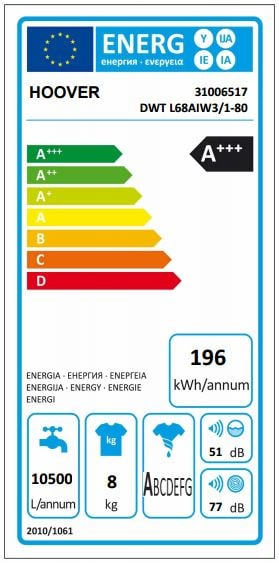 Hoover Wizard DWTL610AIW3 has an A+++ energy efficiency rating!