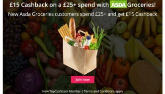 Latest TopCashback Offers and Deals inc Asda Groceries & LEGO Advent