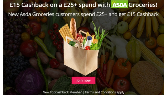 £15 Cashback on a £25+ spend with Asda Groceries!