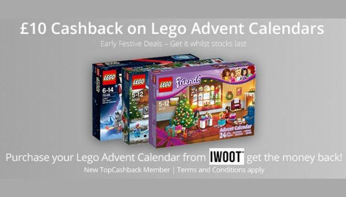 £10 Cashback on Lego Advent Calendars!