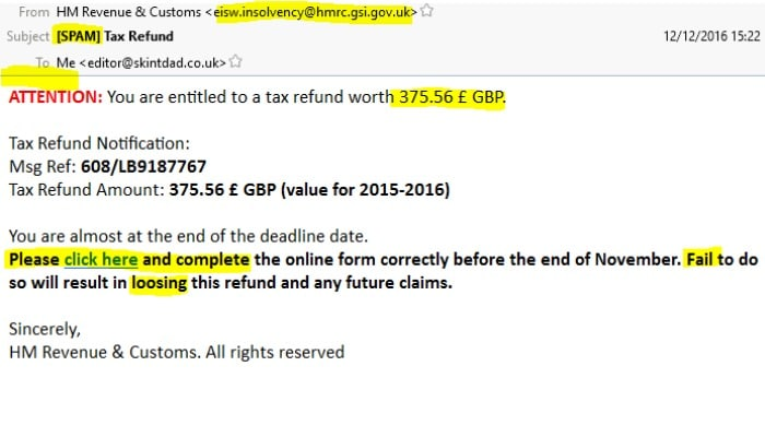 Example email scam