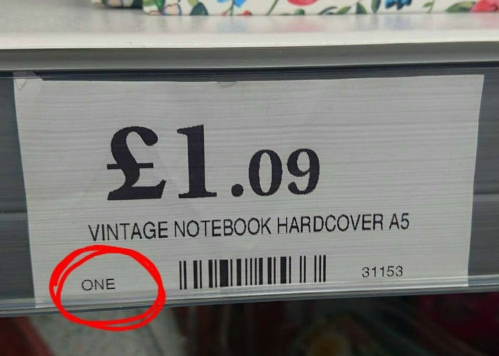 ONE price tag