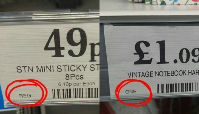Price tags showing one offs and regular items
