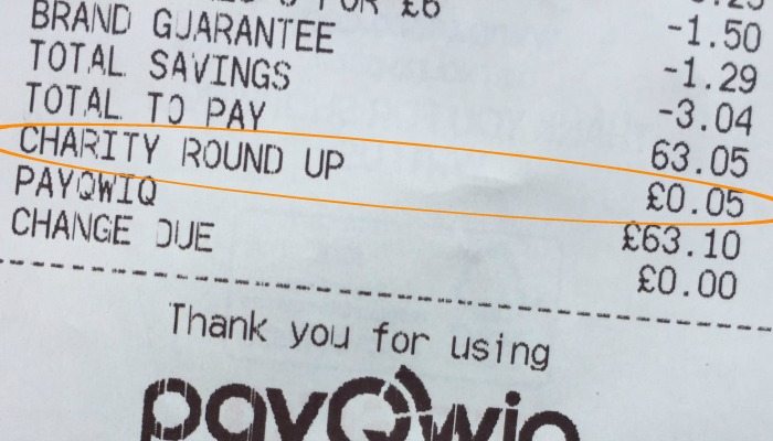 Tesco Receipt with Charity Round Up