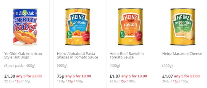 Heinz 5 for £3 example at Tesco