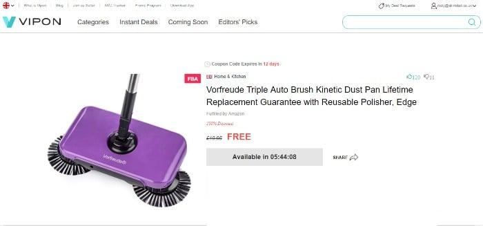 Free Amazon product on Vipon