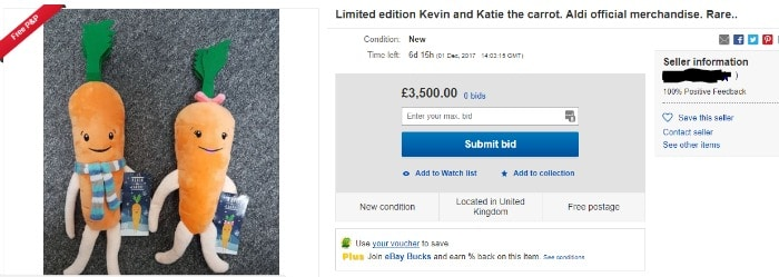 Kevin the Carrot on eBay