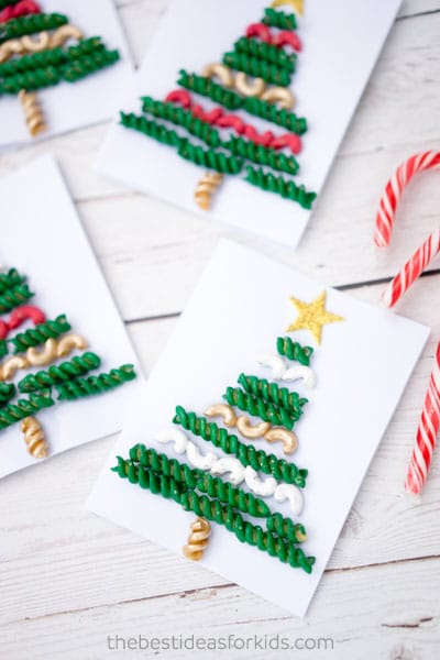 With a bit of macaroni and fusilli (which you've no doubt got in your cupboard), you can make a pasta Christmas tree!