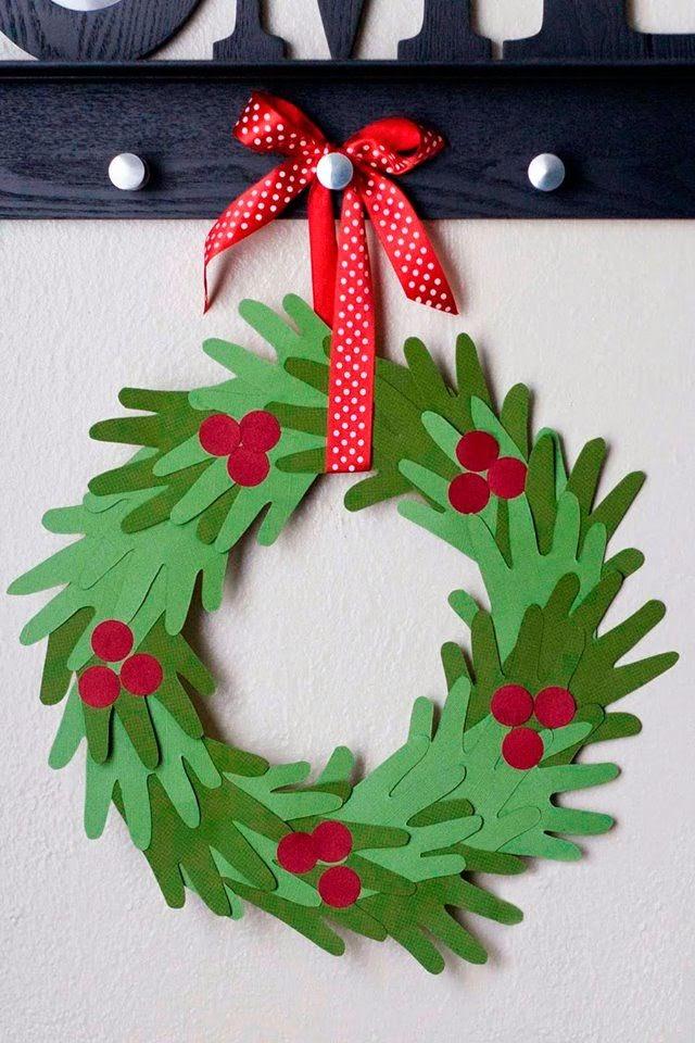 Hand print Christmas wreath #craft #christmas