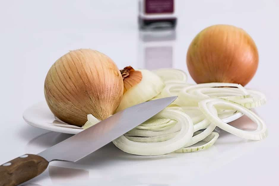 slices of onions ready for a dump bag
