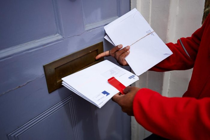 Royal Mail letter in the post