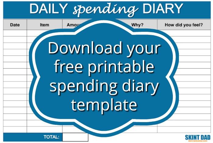 free printable spending diary template