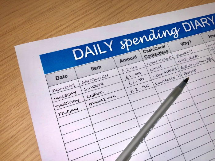 free spending diary template