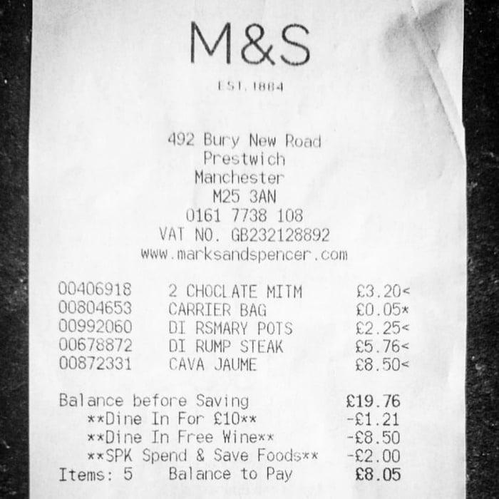 M&S Receipt