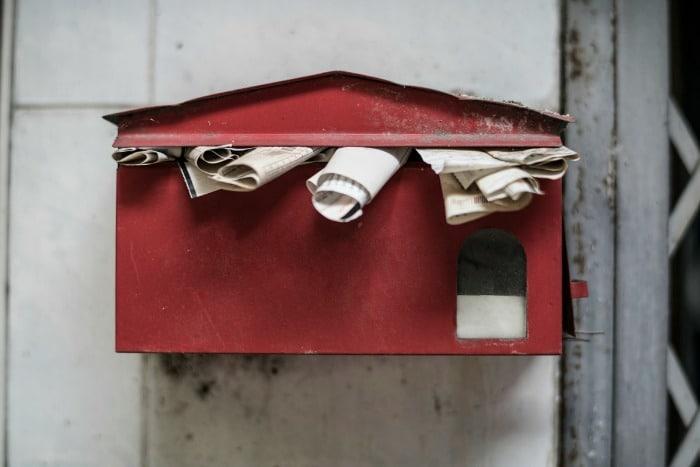 bills in a letter box