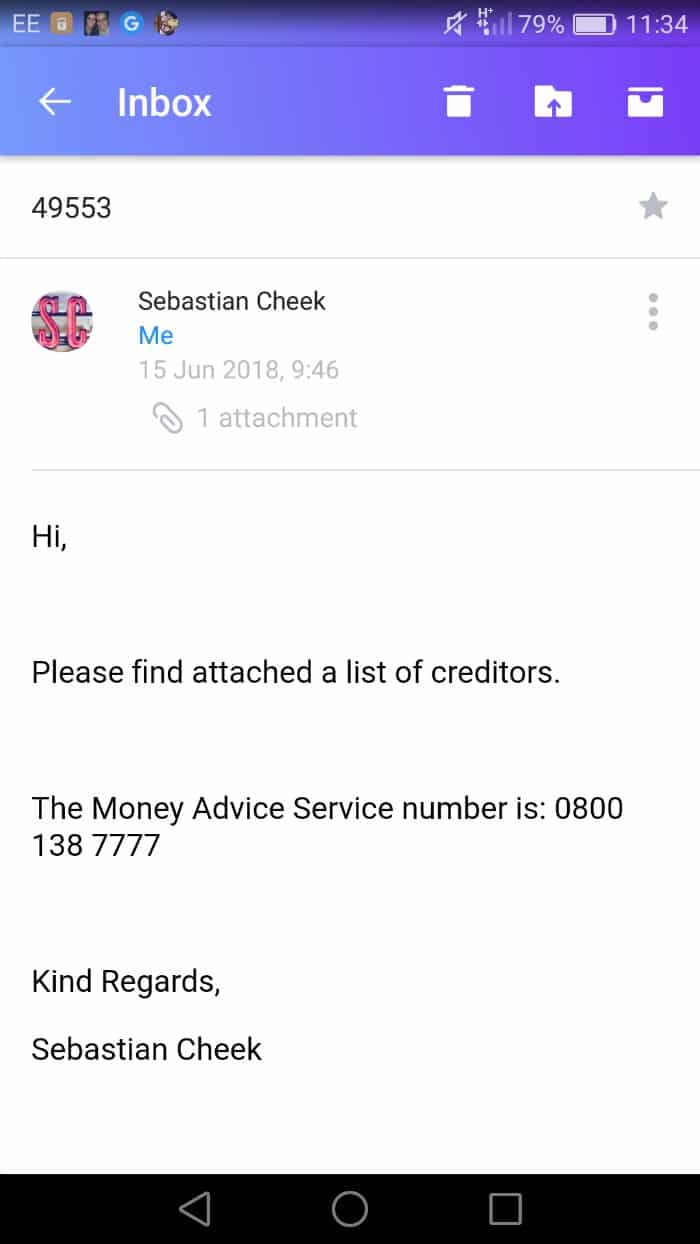 Immediate Financial email