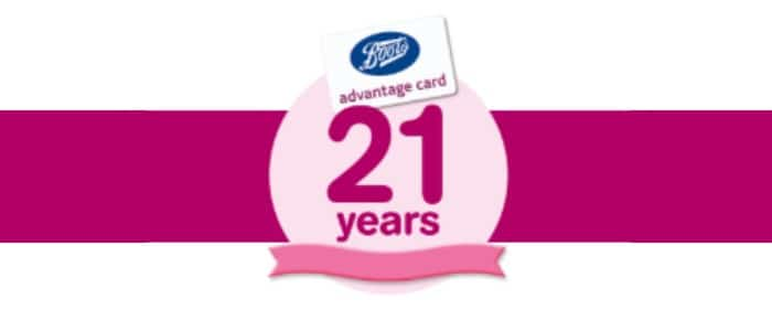 Boots Advantage Card is 21
