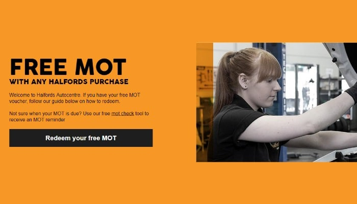 Free MOT at Halfords