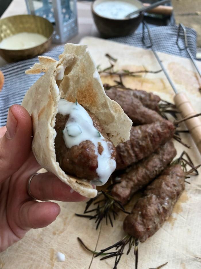 lamb kofta with mint yoghurt