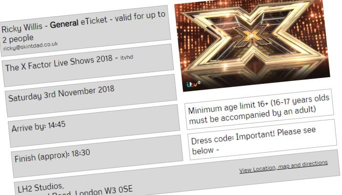free X Factor ticket