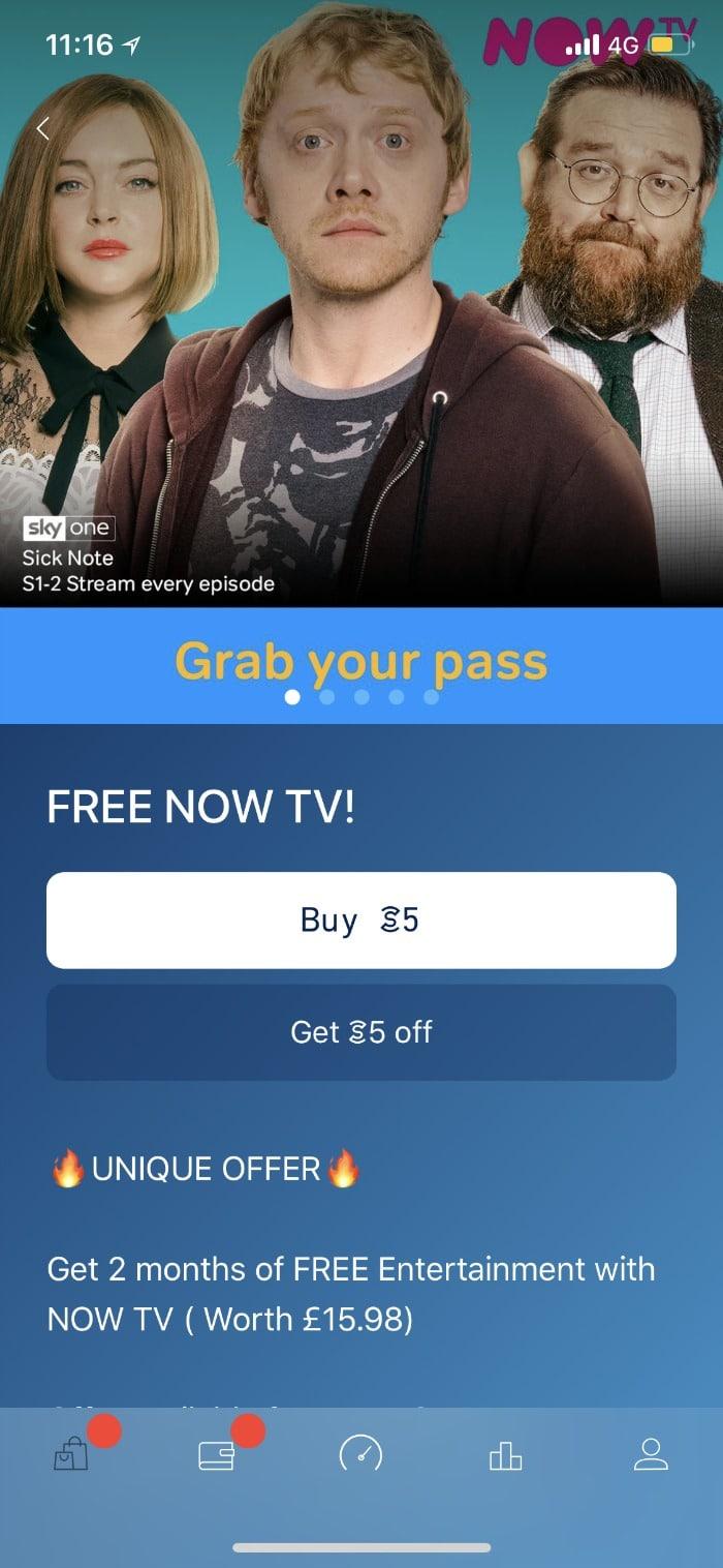 free NOT TV entertainment pass on Sweatcoin