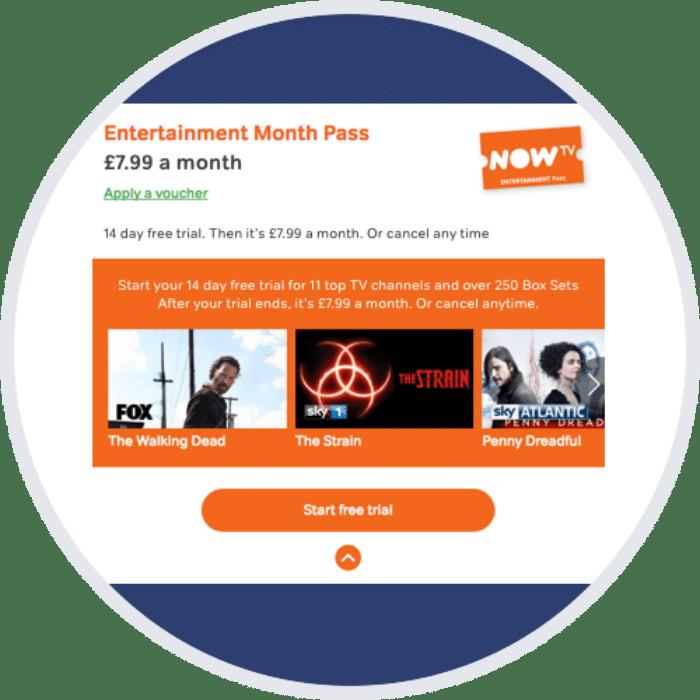 free entertainment pass on NOW TV