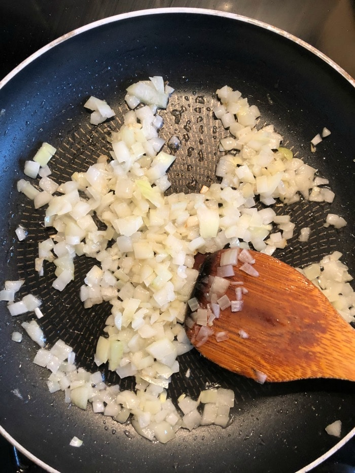 frying onions for frittata