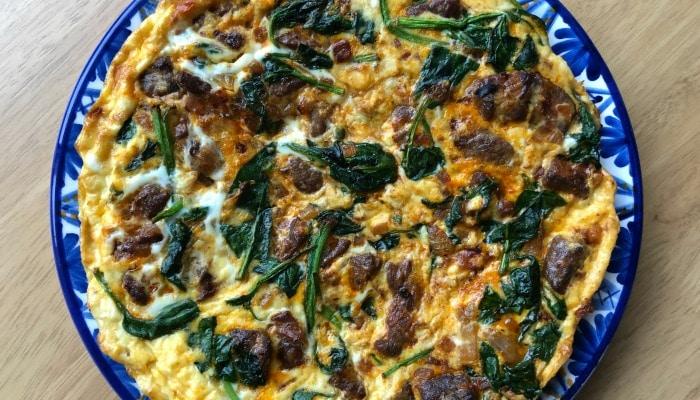 spinach and lamb frittata