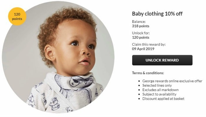 george rewards discount on baby