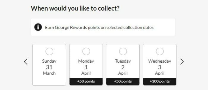 george rewards for click and collect