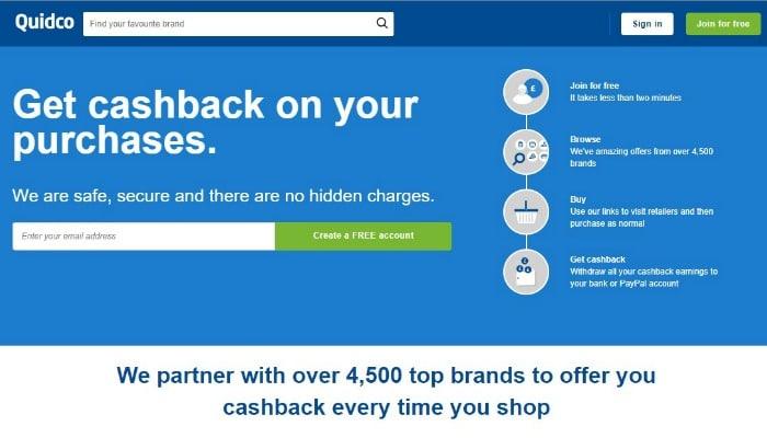 Quidco cashback site