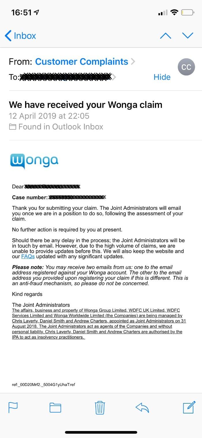 wonga refund claim email
